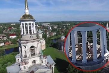 Drone graba a pareja teniendo sexo en torre de iglesia en Rusia